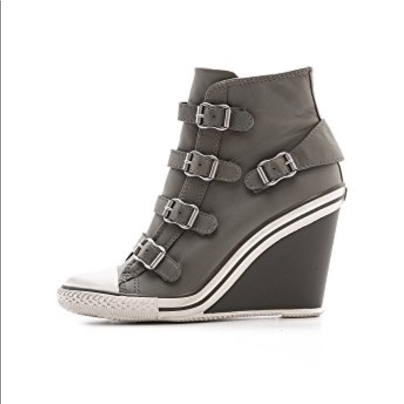 Womens Thelma Leather Wedged Trainers